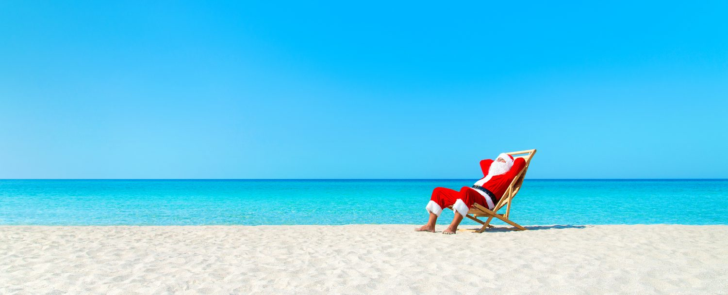 Santa on the beach in Fort Lauderdale, one of the best winter beach destinations