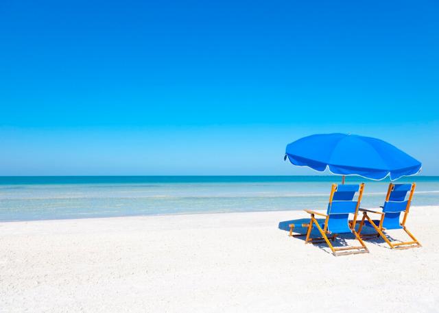 blue beach chairs