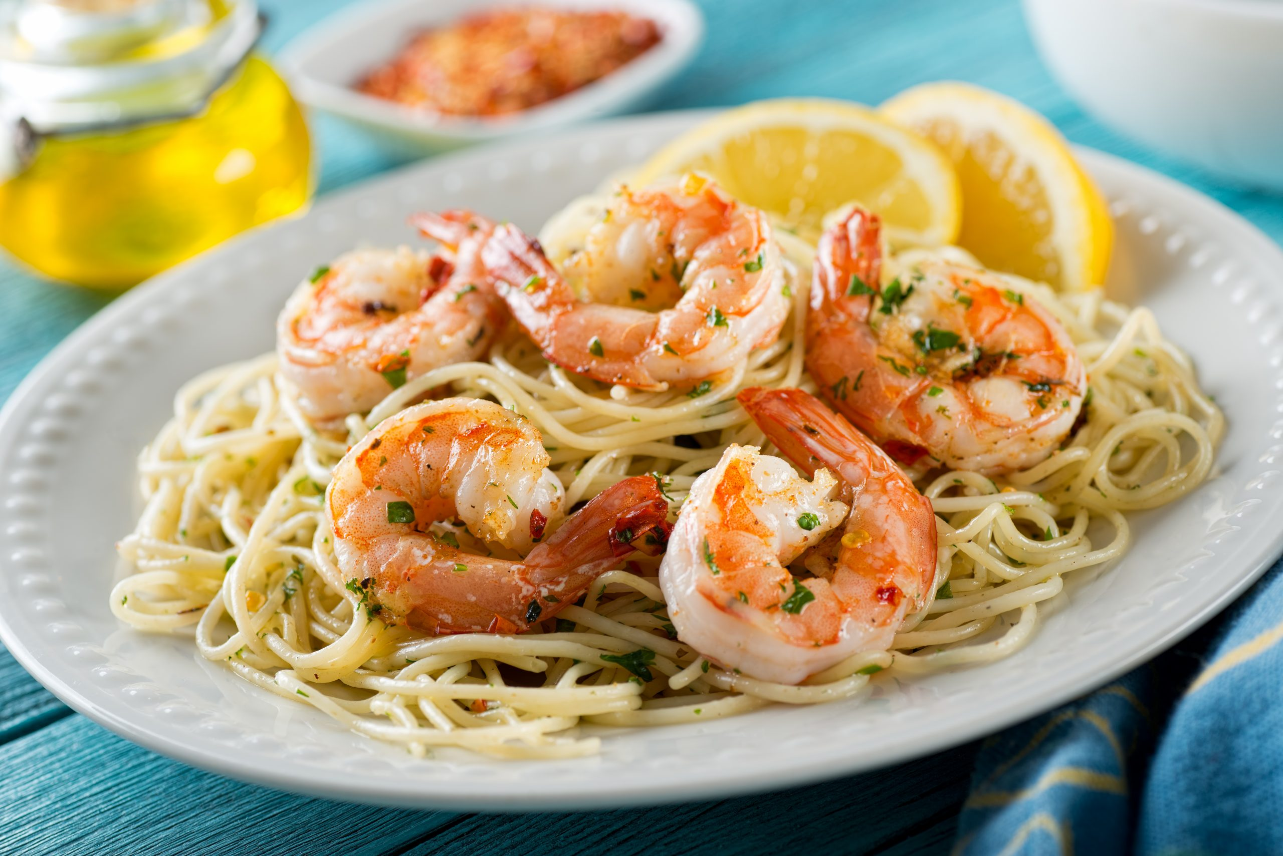 Shrimp scampi at one of the best seafood restaurants in Fort Lauderdale