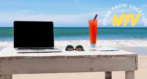 working remotely fort lauderdale, laptop on beach